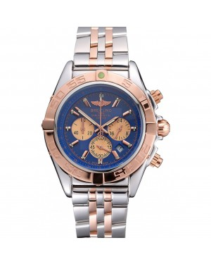 Breitling Chronomat Blue Dial Rose Gold Bezel And Subdials Stainless Steel Case Two Tone Bracelet