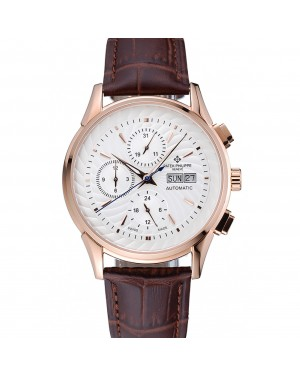 Patek Philippe Grand Complications White Dial Gold Case Brown Leather Bracelet 1454239