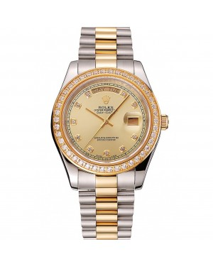 Swiss Rolex Day-Date Champagne Dial Gold Diamond Case Two Tone Stainless Steel Bracelet 1453974