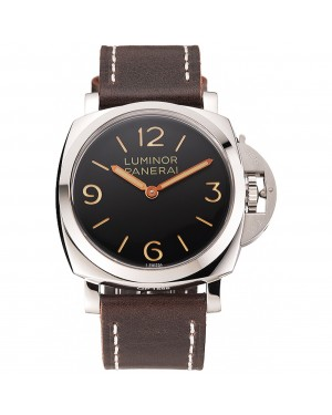 Swiss Panerai Luminor Black Dial Stainless Steel Case Brown Leather Strap 1453854