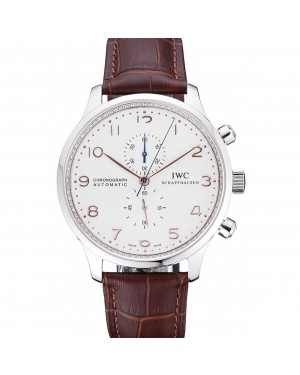 IWC Portugieser Chronograph White Dial Rose Gold Hands And Numerals Stainless Steel Case Brown Leather Strap