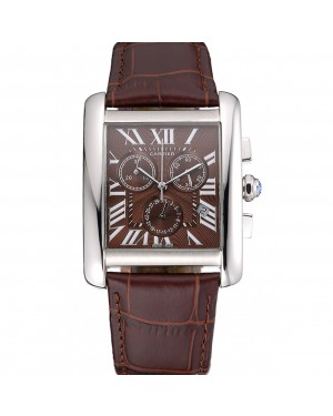 Cartier Tank MC Brown Dial Stainless Steel Case Brown Leather Bracelet 622692
