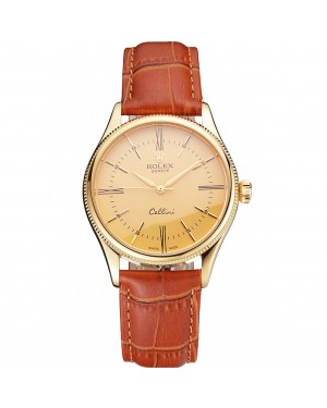 Swiss Rolex Cellini Gold Dial Roman Numerals Gold Case Light Brown Leather Strap
