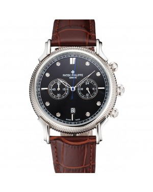 Patek Philippe Chronograph Black Dial With Diamonds Stainless Steel Case Brown Leather Strap