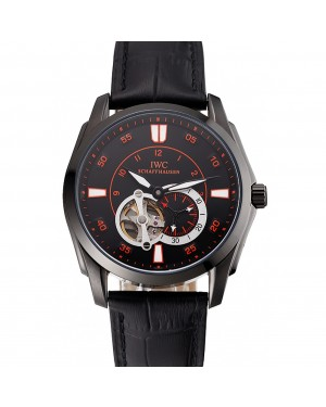 Swiss IWC Pilot's Watch Black Dial With Orange Markings Black Plated Stainless Steel Case Black Leather Strap 1453737