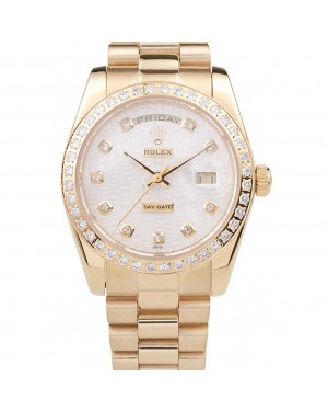 Rolex Day-Date 18k Yellow Gold Plated Stainless Steel White Dial