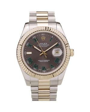 Rolex DateJust Gold Ribbed Pattern Bezel Brown Dial