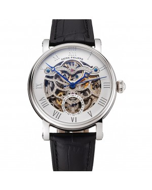Patek Philippe Grand Complications White Skeleton Dial Stainless Steel Case Black Leather Strap 1453810