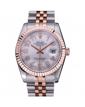 Rolex DateJust White Dial Stainless Steel and Gold Bracelet 622544