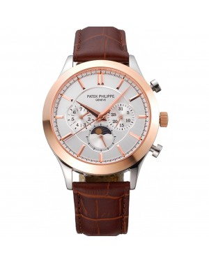 Patek Philippe Moonphase Chronograph White Dial Gold Case Brown Leather Strap 622843
