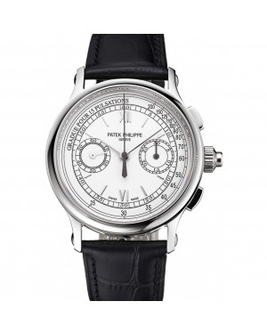 Swiss Patek Philippe 5170J Chronograph White Dial Stainless Steel Case Black Leather Strap