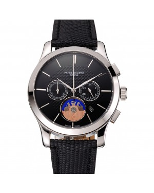 Patek Philippe Chronograph Black Dial Stainless Steel Case Black Leather Strap