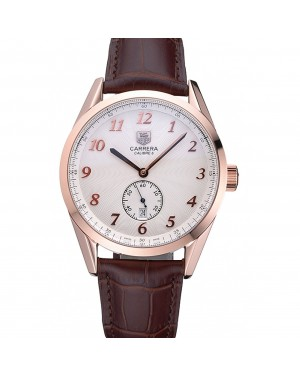 Tag Heuer Carerra Calibre 6 White Dial Red Numbers Brown Leather Band 622161