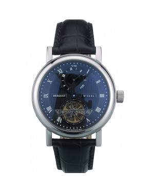 Breguet Classique Complications Stainless Steel Case Black Leather Strap 80157