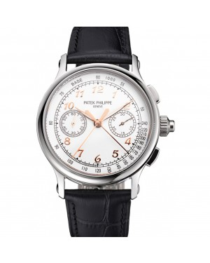 Swiss Patek Philippe Split Seconds Chronograph White Dial Rose Gold Hands Stainless Steel Case Black Leather Strap