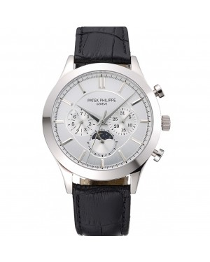 Patek Philippe Moonphase Chronograph White Dial Stainless Steel Case Black Leather Strap 622841