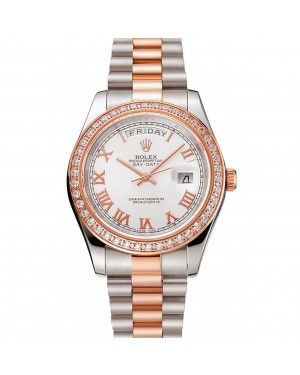 Swiss Rolex Day-Date Diamonds Bezel White Dial Rose Gold And Staineless Steel Bracelet 1454108