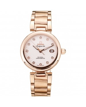 Omega DeVille Ladymatic Rose Gold Stainless Steel Strap White Dial