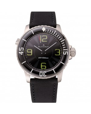 Swiss Blancpain 500 Fathoms Black Dial Stainless Steel Case Black Canvas Strap