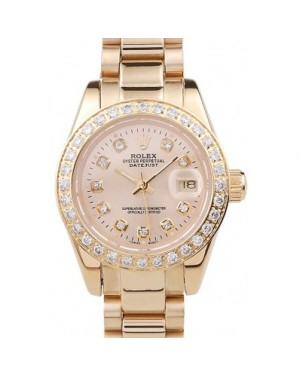 Rolex Datejust 18k Yellow Gold Plated Stainless Steel Diamond Plated 98076