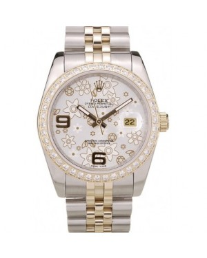 Rolex DateJust Brushed Stainless Steel Case Silver Flowers Dial Diamonds Plated