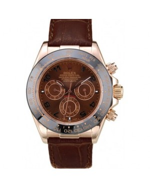 Rolex Daytona Rose Gold Case Brown Dial Brown Leather Strap