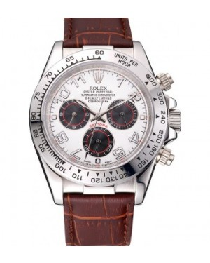 Rolex Daytona Stainless Steel Case White Dial Brown Leather Strap