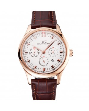 Swiss IWC Portugieser Perpetual Calendar White Dial Rose Gold Case Brown Leather Strap