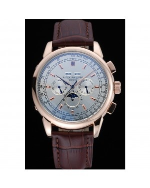 Patek Philippe Grand Complications White Dial Brown Leather Bracelet