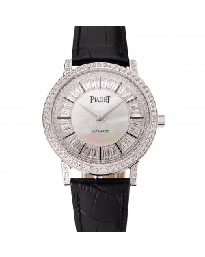 Swiss Piaget Altiplano Diamond Set Stainless Steel Case And Pearl Dial Black Leather Strap 1453746