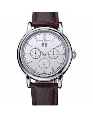 Patek Philippe Geneve Grand Complications White Dial Stainless Steel Bezel Brown Leather Band 622151