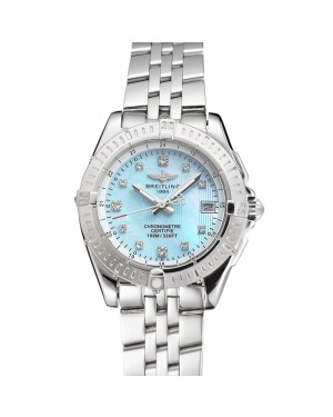 Breitling Colt Lady Light Blue Dial Diamond Hour Marks Stainless Steel Case And Bracelet