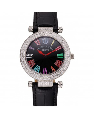 Franck Muller Double Mistery Ronde Black Dial Stainless Steel Case Black Leather Strap