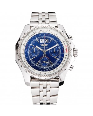 Breitling Bentley 6.75 Speed Blue Dial Stainless Steel Case And Bracelet 622214
