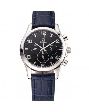 Omega Chronograph Black Dial Stainless Steel Case Blue Leather Strap