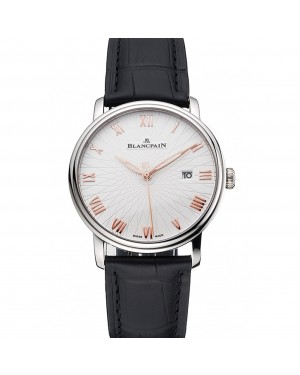 Blancpain Villeret Ultra Slim White Groved Dial Gold Numerals Stainless Steel Case Black Leather Strap