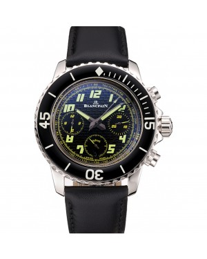 Swiss Blancpain Fifty Fathoms Flyback Chronograph Carbon Fiber Dial Stainless Steel Case Black Leather Strap