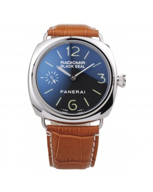 Panerai Radiomir Polished Stainless Steel Case Black Dial Brown Leather Strap 98141
