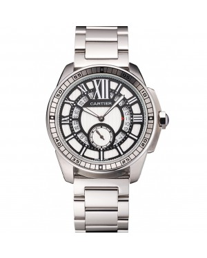 Cartier Calibre De Cartier Small Seconds Black And White Dial Stainless Steel Case And Bracelet