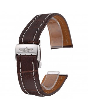 Breitling Brown Leather White Stitching Bracelet 622604