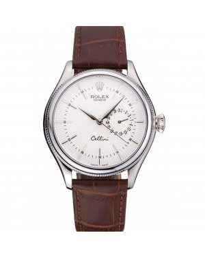 Rolex Cellini White Dial Stainless Steel Case Brown Leather Bracelet 622723