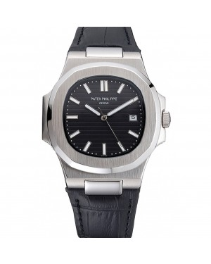 Patek Philippe Nautilus Black Dial Brushed Stainless Steel Case Black Leather Strap