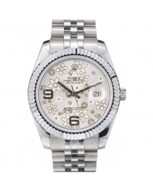 Rolex DateJust Stainless Steel Ribbed Bezel Flower Silver Dial 41983