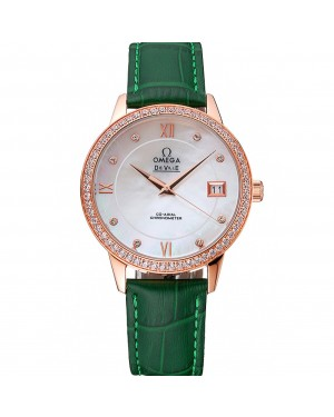 Omega DeVille Prestige Co-Axial Diamond Gold Case Mother-Of-Pearl Dial Green Leather Strap