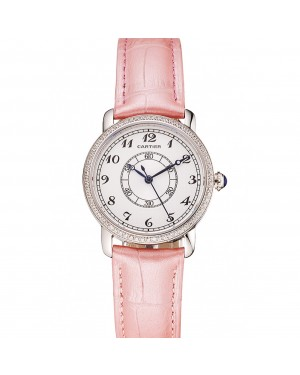 Cartier Ronde White Dial Diamond Bezel Stainless Steel Case Pink Leather Strap