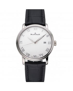 Blancpain Villeret Ultra Slim White Dial Stainless Steel Case Black Leather Strap