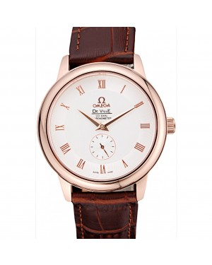 Omega DeVille Prestige Small Seconds White Dial Gold Case Brown Leather Bracelet 622603
