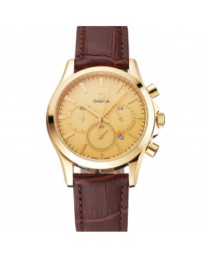 Omega Chronograph Gold Dial Gold Case Brown Leather Strap
