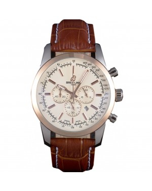 Breitling Transocean White Dial Light Brown Leather Strap Rose Gold Bezel