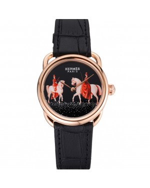 Hermes Classic Croco Leather Strap Black Dial 801398